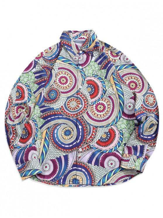 Camicia a bottoni casual con stampa fiori colorati tribali - Multi Colori 2XL