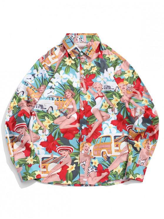 Camicia a bottone con stampa floreale delle Hawaii Beach Holiday - Multi Colori S