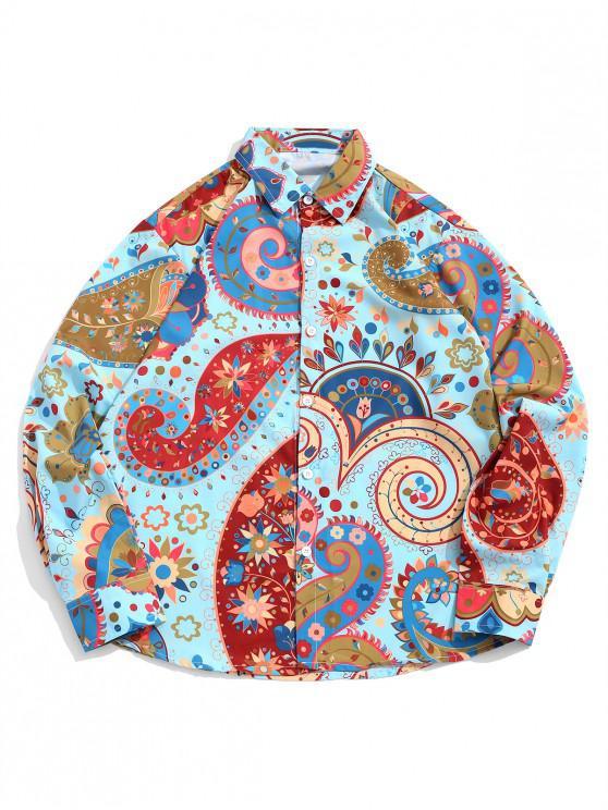 Camicia casual a maniche lunghe con stampa floreale a girocollo di Paisley - Multi Colori L
