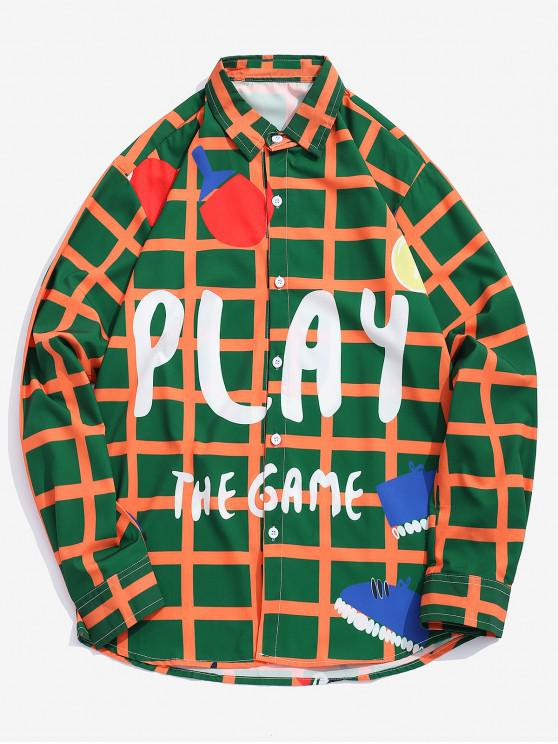 buy Play The Game Plaid Graphic Print Button Shirt - MULTI M