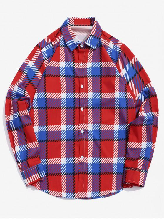 Camicia casual a righe con stampa scozzese a righe - Multi Colori XL