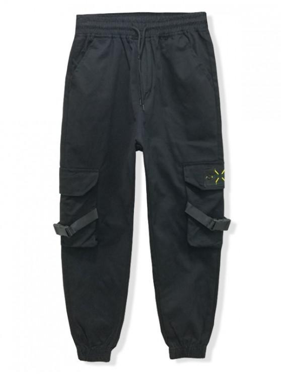 Pantalones de basculador de color liso con bordado en el bolsillo trasero - Negro XS