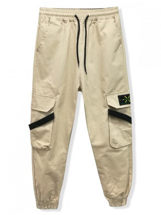 Pantalones de basculador de color liso con bordado en el bolsillo trasero - Caqui M