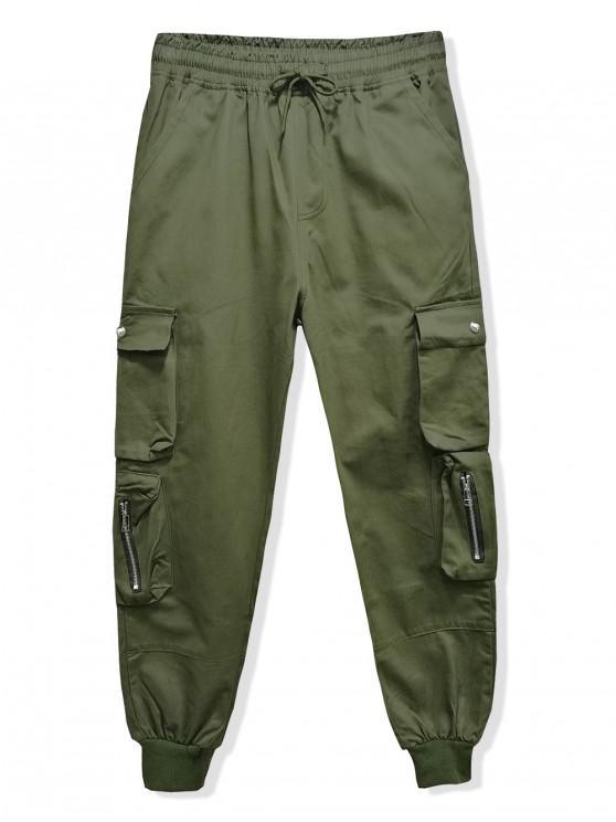 Pantaloni jogger con coulisse multitasche in tinta unita - Verde Dell'esercito 3XL
