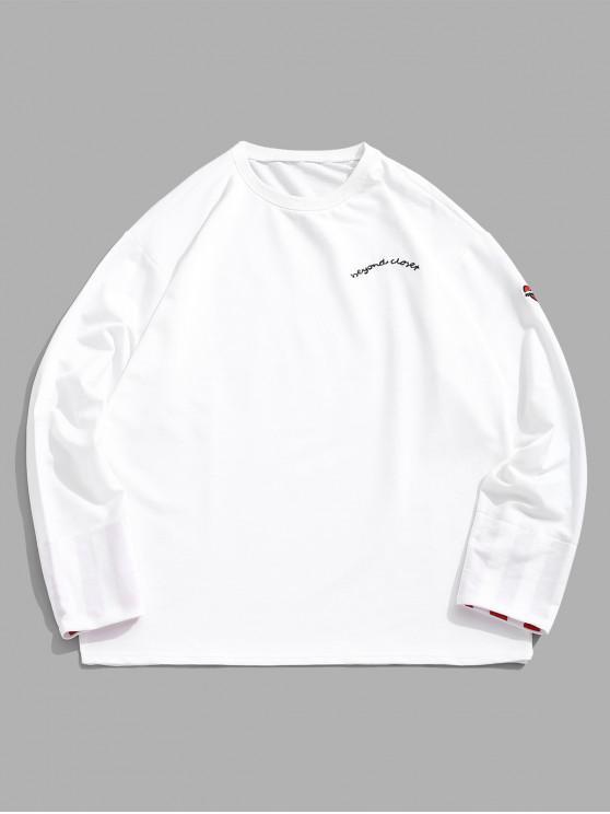 fancy Letter Embroidery Heart Print Striped Sleeves Sweatshirt - WHITE L
