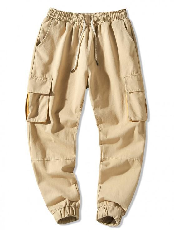Pantaloni jogger con coulisse color block tasche laterali con patta - Cachi 3XL