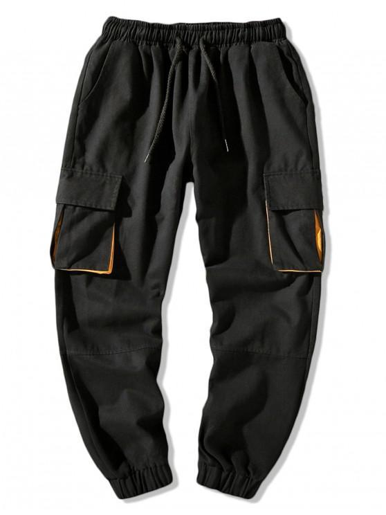 Bolsillos con solapa lateral Bloque de color Pantalones de jogger con cordón - Negro 4XL