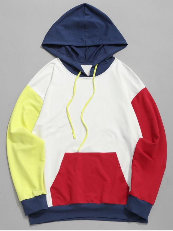 Felpa con cappuccio e tasca frontale ZAFUL con coulisse color block - Multi Colori-A M