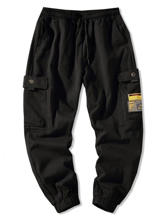 Pantaloni jogger tascabili laterali tinta unita applique - Nero XL