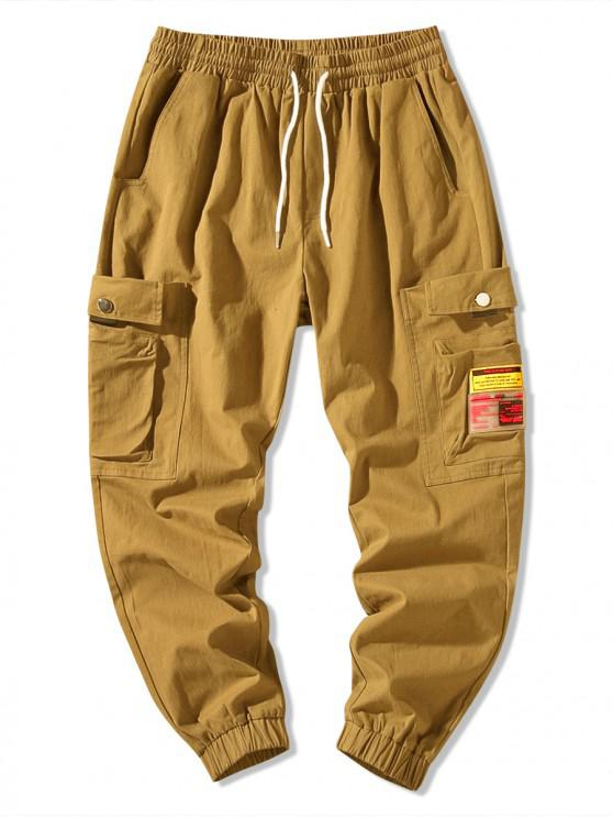 unique Applique Solid Color Side Pocket Jogger Pants - DARK KHAKI S