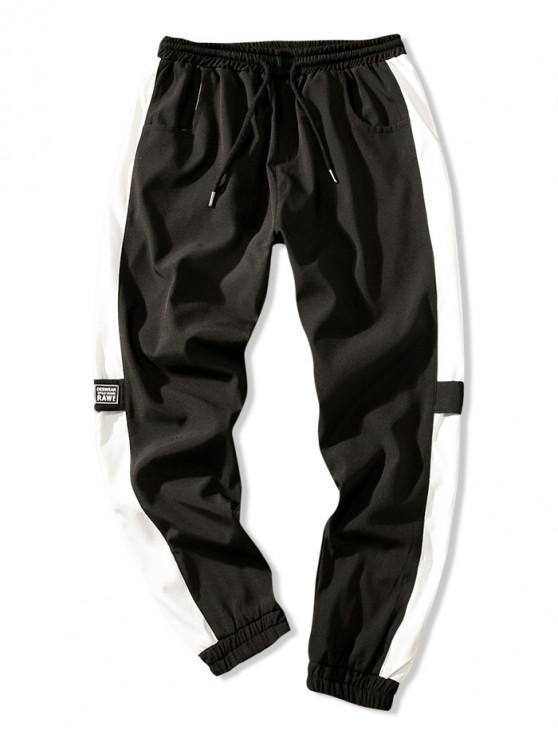 Pantalones de chándal con múltiples bolsillos y empalmes de bloques de colores - Negro XL