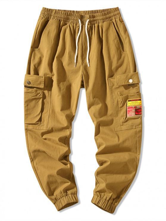 Pantaloni jogger tascabili laterali tinta unita applique - Khaki scuro 2XL
