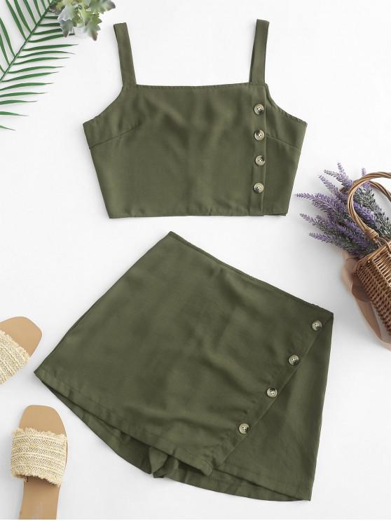 affordable Buttons Crop Top and Overlap Shorts Set - ARMY GREEN L