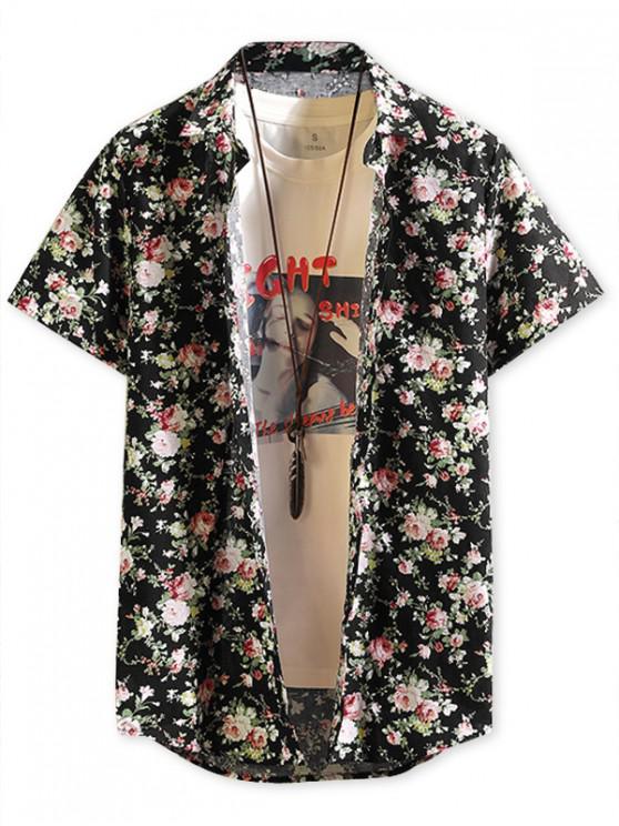 lady Short Sleeves Ditsy Allover Print Hawaii Beach Shirt - BLACK L