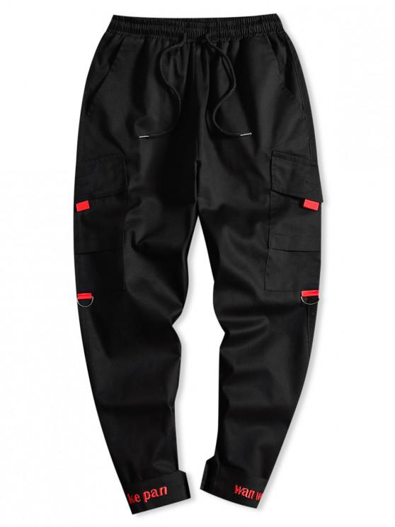 womens Letter Embroidery Side Asymmetric Pocket Drawstring Casual Pants - BLACK XS