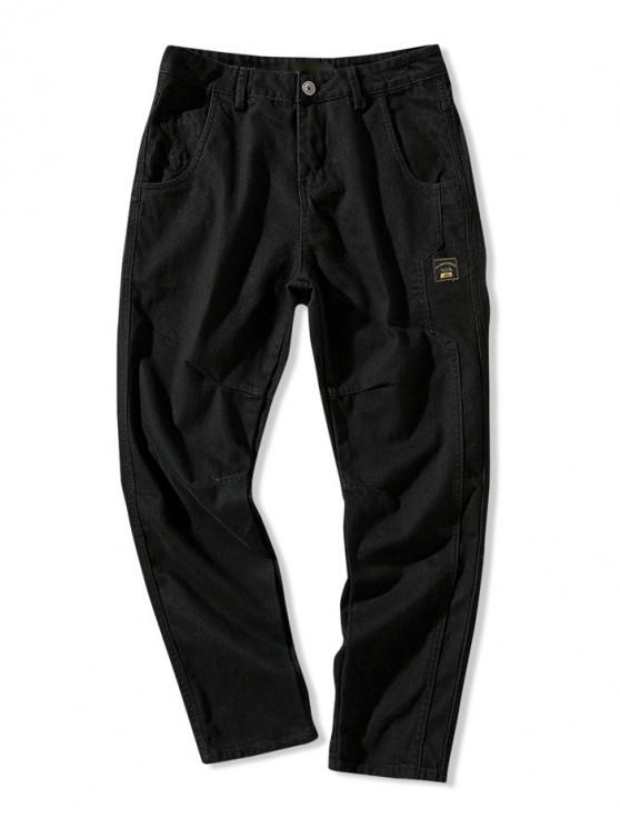 Pantalones casuales de color sólido con múltiples bolsillos con apliques - Negro L