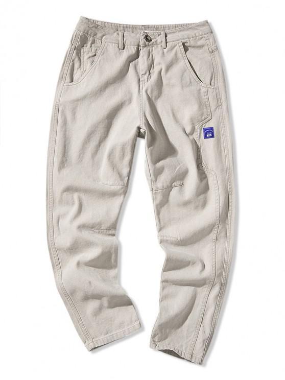 Pantalones casuales de color sólido con múltiples bolsillos con apliques - Gris Claro XS
