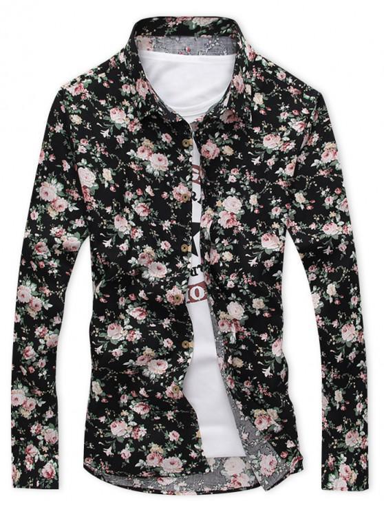 shop Long Sleeves Allover Ditsy Print Holiday Casual Shirt - BLACK XS