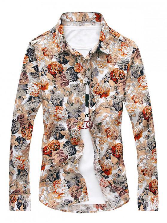 fancy Long Sleeves Allover Flowers Print Casual Shirt - ORANGE S