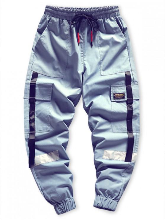 trendy Side Flap Pocket Spliced Applique Cargo Jogger Pants - BLUE M