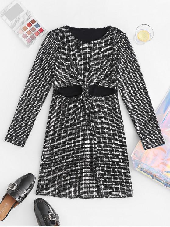 Figurbetontes Kleid mit Paillettenausschnitt - Schwarz M
