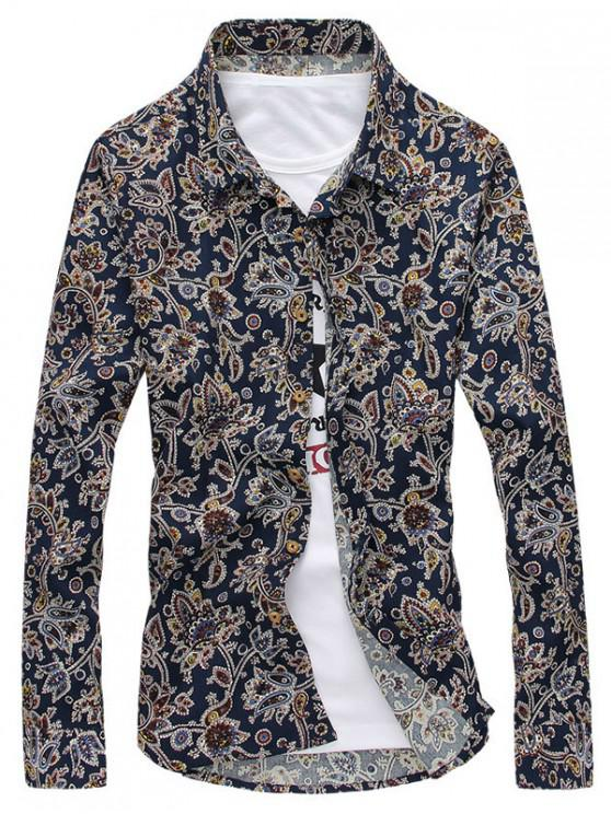Camisa de manga larga con estampado floral de Paisley - Cadetblue XS