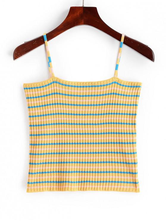 new Striped Cropped Knitwear Cami Top - GOLDENROD ONE SIZE