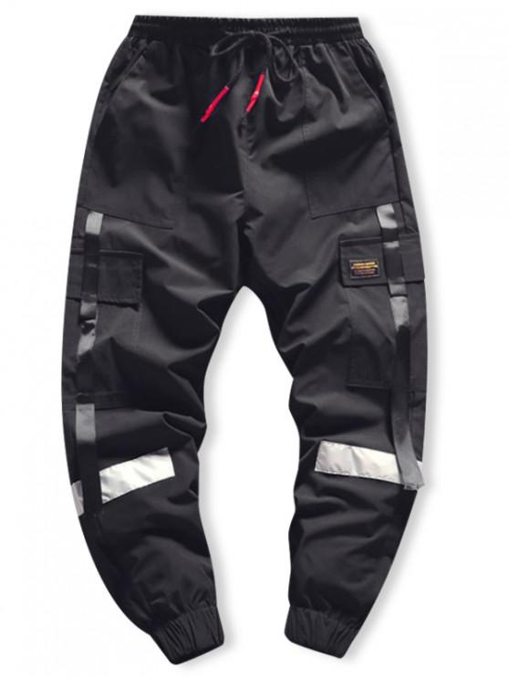 buy Side Flap Pocket Spliced Applique Cargo Jogger Pants - BLACK M