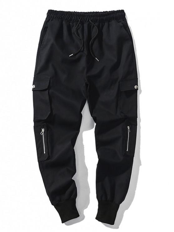 fancy Solid Color Multi-pocket Drawstring Jogger Pants - BLACK M