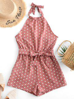 Belted Open Back Knotted Polka Dot Romper - Khaki Rose S