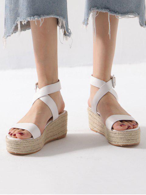 fashion Cross Strap PU Flatform Espadrille Sandals - WHITE EU 36 Mobile