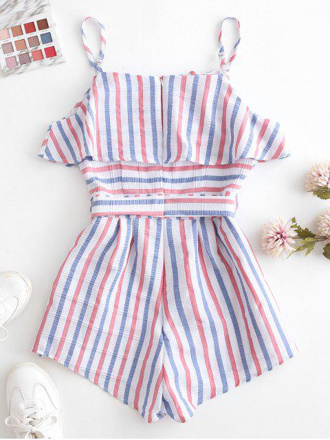 outfit ZAFUL American Flag Stripes Belted Cami Romper - MULTI M Mobile