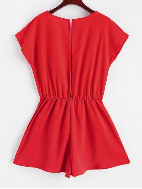 women Button Loop Open Back Tie Front Romper - RED L Mobile