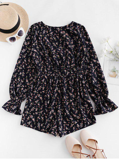 trendy ZAFUL Ditsy Floral Poet Sleeve Knotted Plunge Romper - DEEP BLUE S Mobile