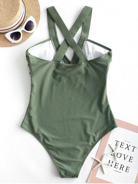 trendy ZAFUL Criss Cross Plain One-piece Swimsuit - CAMOUFLAGE GREEN M Mobile