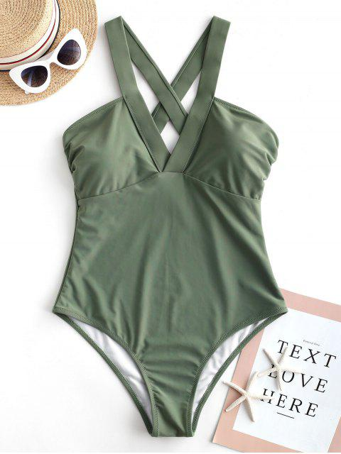 hot ZAFUL Criss Cross Plain One-piece Swimsuit - CAMOUFLAGE GREEN XL Mobile