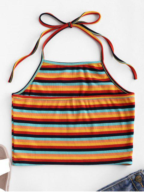 lady ZAFUL Rainbow Striped Ribbed Crop Halter Top - MULTI-K S Mobile