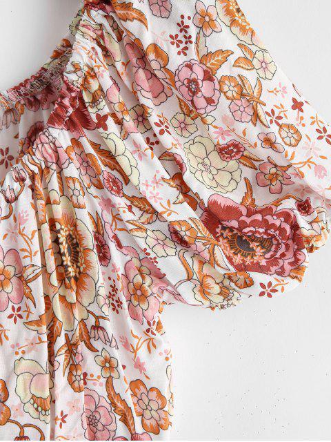 ZAFUL Ensemble de Haut Court Fleuri et de Pantalon à Jambe Large - Rose Rosé L Mobile