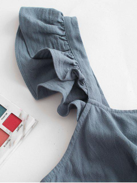 ZAFUL Mini-Robe Nouée au Dos Sans Manches à Volants - Bleu-gris L Mobile