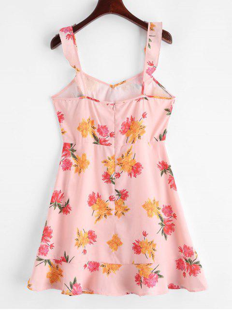 ZAFUL Mini Robe Fleurie Sans Manches à Col Noué - Rose S Mobile