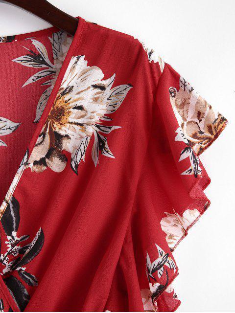 Barboteuse Superposée Fleurie à Volants - Rouge L Mobile