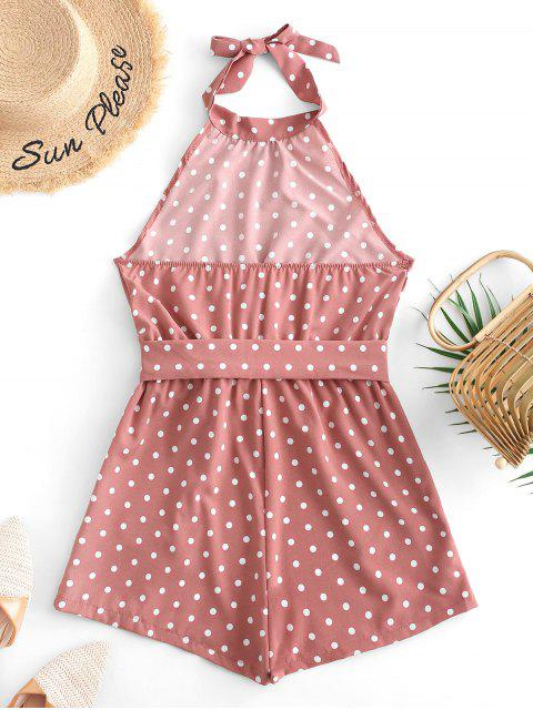 fashion Belted Open Back Knotted Polka Dot Romper - KHAKI ROSE S Mobile