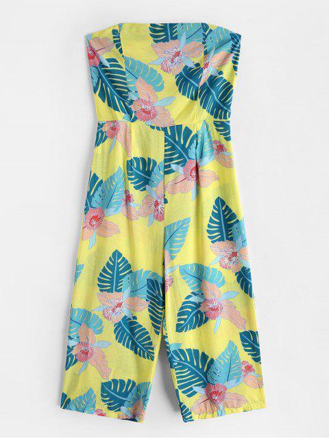 Capri Bretelles Floral Leaves Jumpsuit Jambes Larges - Jaune XL Mobile