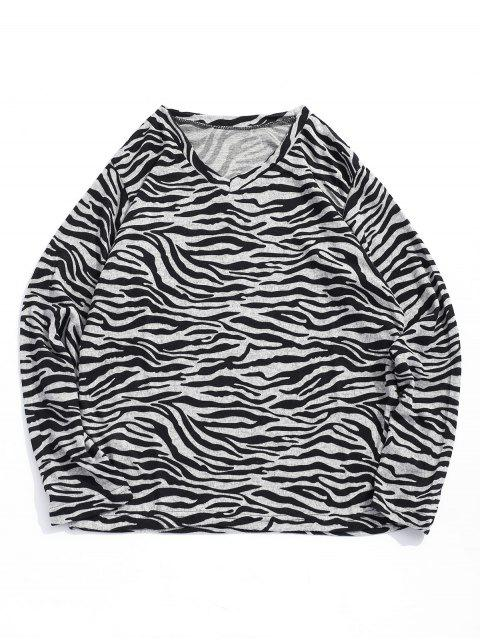T-shirt Rayure Irrégulière Vague Imprimée à Col V - Noir XL Mobile