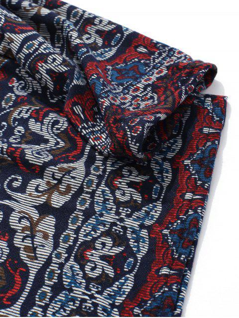 T-shirt Fleuri Géométrique Imprimé à Manches Longues Style Bohémien - Multi-A 2XL Mobile