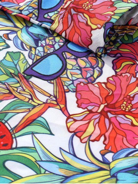 Chemise Décontractée Fleur Ananas Tropicale avec Lunettes Imprimées - Multi 2XL Mobile