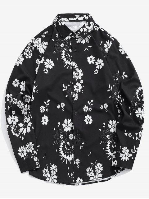 Chemise décontractée à imprimé floral - Noir M Mobile