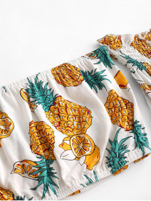 hot Off Shoulder Pineapple Top And Paperbag Shorts Set - YELLOW S Mobile