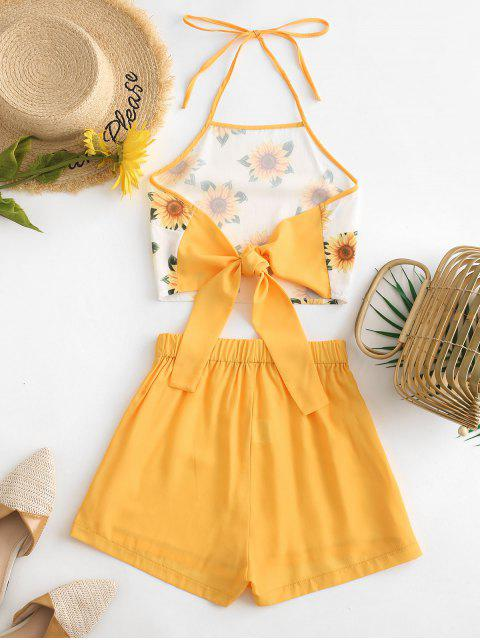 chic ZAFUL Halter Tied Back Sunflower Two Piece Set - BEE YELLOW S Mobile