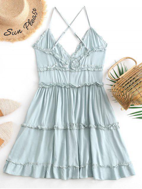 buy Criss Cross Ruffle Mini Dress - CYAN OPAQUE M Mobile